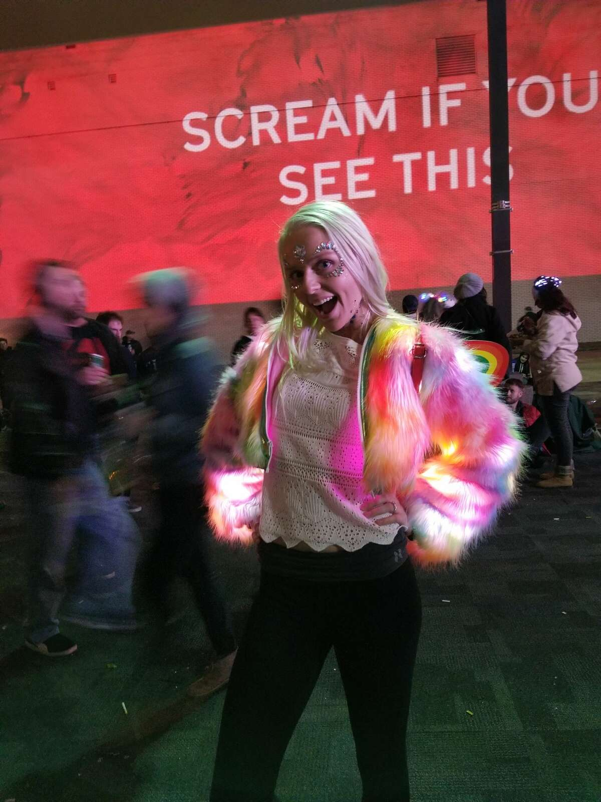 This is an appropriate level of excitement for a light-up fuzzy coat.