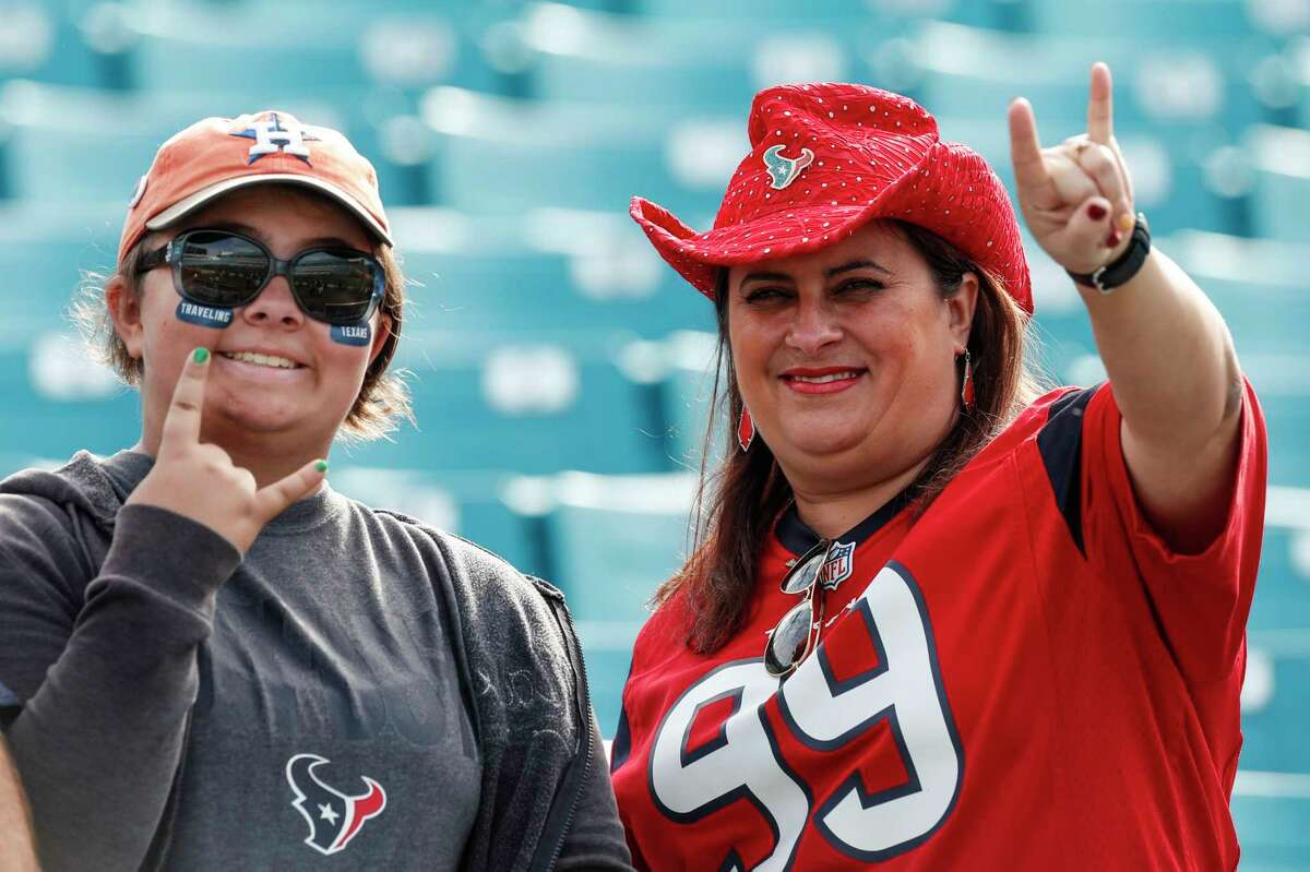 Houston Texans fans watch warm ups before an NFL football game against the Jacksonville Jaguars at EverBank Field on Sunday, Dec. 17, 2017, in Jacksonville.