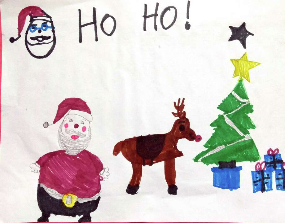 Coldspring student Sierra Williams asked Santa to help the children who were impacted by Hurricane Harvey and then drew this photo to accompany her request. Photo: Submitted