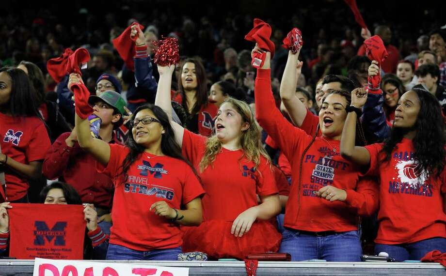Fans of the Manvel Mavericks have been celebrating ever since the team's victory over Angleton Dec. 15 at NRG Stadium, which sets up a showdown with defending 5A Division I champ Highland Park in a game for the title on Friday. Photo: Tim Warner, Freelance / Houston Chronicle
