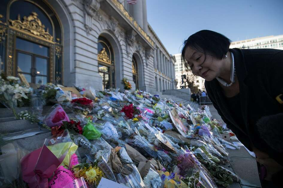 Former Oakland Mayor Jean Quan looks at a memorial for Ed Lee at Civic Center Plaza on Sunday, Dec. 17, 2017 in San Francisco, CA.  She knew him back in Oakland as they fought for the Orangeland struggle in SF and the Vincent Chin murder.
