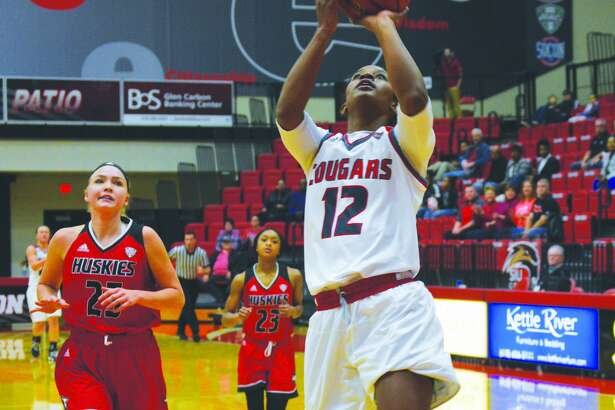 SIUE senior guard Lauren White goes up for two of her career-high 28 points during a home game against Northern Illinois on Sunday.