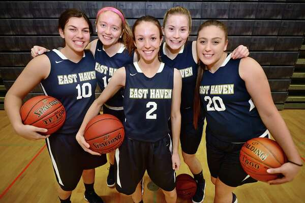 From left, East Haven captains, Olivia Coyle, Marley Herard , Haley Montesanto, Kylie Schlottman and Jessica Stettinger.