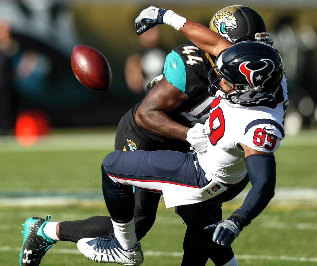 PHOTOS: How John McClain graded the Texans after their loss to the Jaguars Jaguars outside linebacker Myles Jack (44) breaks up a pass intended for Houston Texans tight end Stephen Anderson (89) at EverBank Field on Sunday, Dec. 17, 2017, in Jacksonville. Browse through the photos above to see how John McClain graded the Texans after their loss to the Jaguars on Sunday.