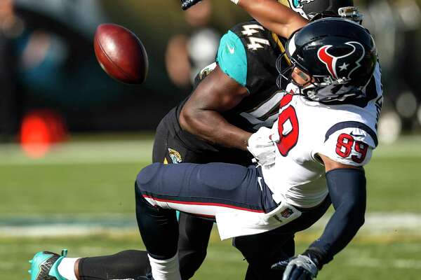 Jacksonville Jaguars outside linebacker Myles Jack (44) breaks up a pass intended for Houston Texans tight end Stephen Anderson (89) during the second quarter of an NFL football game at EverBank Field on Sunday, Dec. 17, 2017, in Jacksonville.