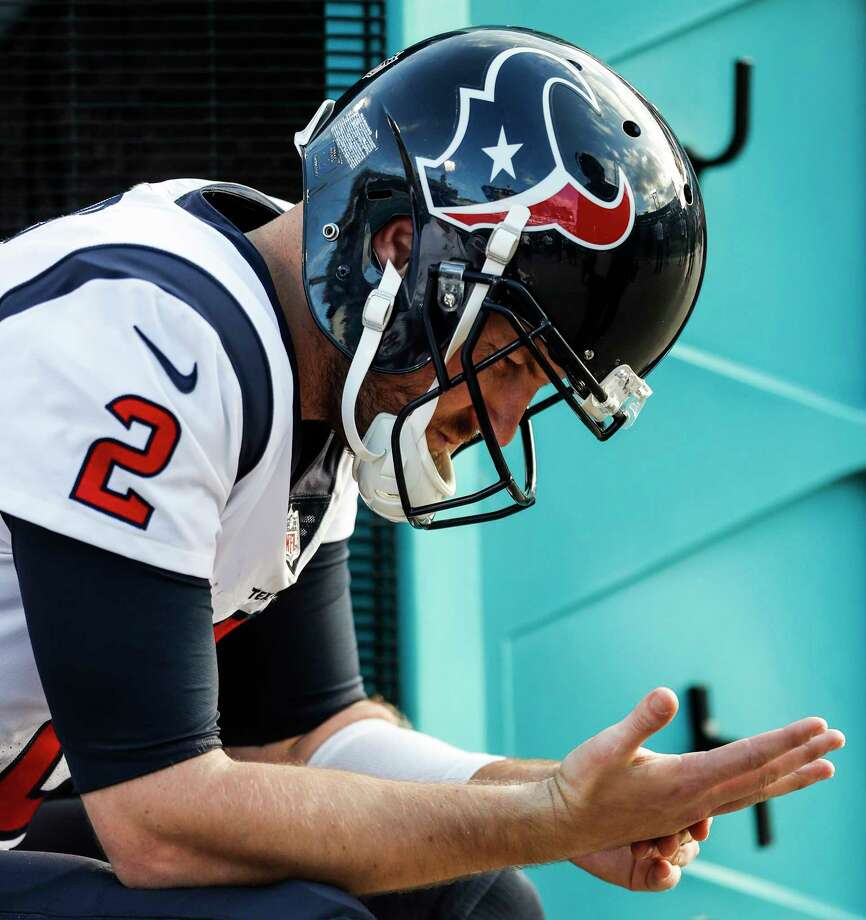 Houston Texans quarterback T.J. Yates (2) sits on the bench during the fourth quarter of the Texans 45-7 loss to the Jacksonville Jaguars during the fourth quarter of an NFL football game at EverBank Field on Sunday, Dec. 17, 2017, in Jacksonville. Photo: Brett Coomer, Houston Chronicle / © 2017 Houston Chronicle