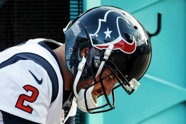 Houston Texans quarterback T.J. Yates (2) sits on the bench during the fourth quarter of the Texans 45-7 loss to the Jacksonville Jaguars during the fourth quarter of an NFL football game at EverBank Field on Sunday, Dec. 17, 2017, in Jacksonville.
