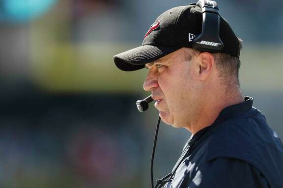 Houston Texans head coach Bill O'Brien looks onto the field during the first quarter of an NFL football game against the Jacksonville Jaguars at EverBank Field on Sunday, Dec. 17, 2017, in Jacksonville.