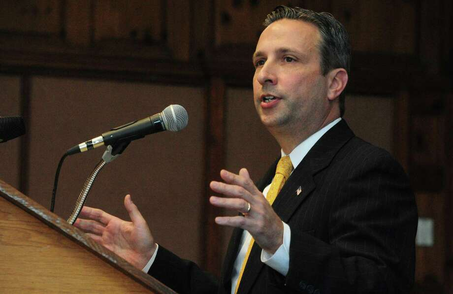 State Senate Majority Leader Bob Duff gives his remarks during the swearing-in ceremony for Mayor Harry Rilling and Town Clerk Richard McQuaid on Tuesday, November 21, 2017, in the Community Room of Norwalk City Hall in Norwalk, Conn. Rilling was sworn into his third two-year term by Connecticut Governor Dannel Malloy. Photo: Erik Trautmann / Hearst Connecticut Media / Norwalk Hour