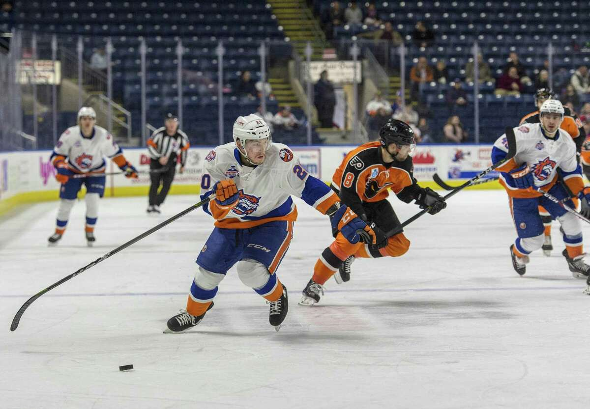 The Bridgeport Sound Tigers against the Lehigh Valley Phantoms during an ice hockey game played at the Webster Bank Arena, Bridgeport, CT. Sunday, December 17, 2017.