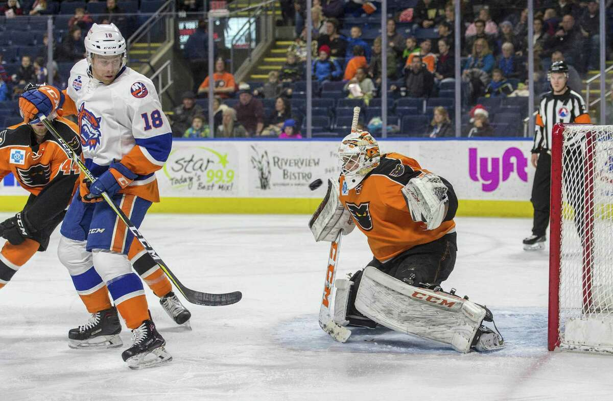 The Bridgeport Sound Tigers John Stevens watches as the puck goes past the Lehigh Valley Phantoms goalie Dustin Tokarski during an ice hockey game played at the Webster Bank Arena, Bridgeport, CT. Sunday, December 17, 2017.