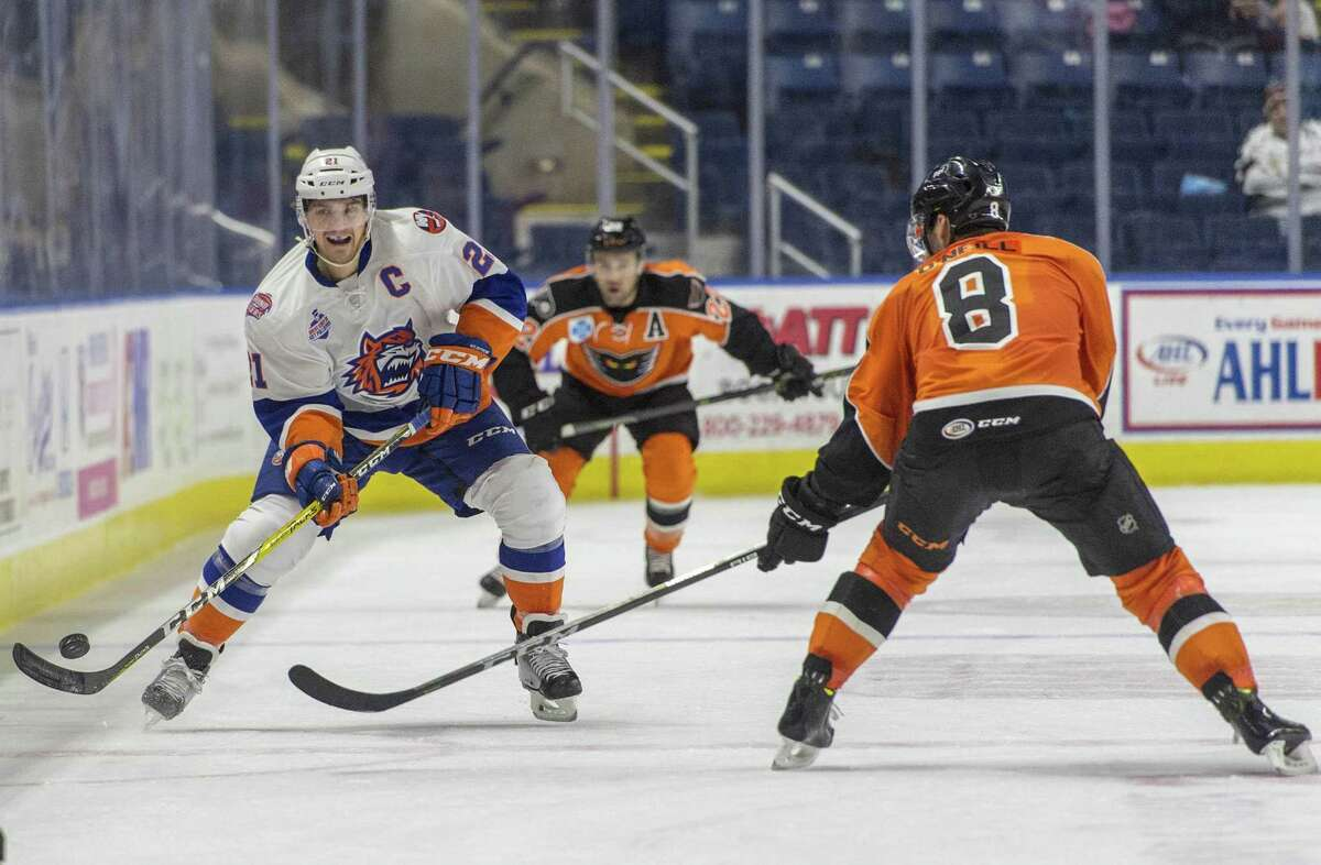 The Bridgeport Sound Tigers Ben Holmstrom moves the puck up ice during an ice hockey game against the Lehigh Valley Phantoms played at the Webster Bank Arena, Bridgeport, CT. Sunday, December 17, 2017.