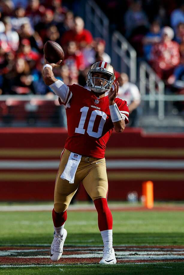 SANTA CLARA, CA - DECEMBER 17: Quarterback Jimmy Garoppolo #10 of the San Francisco 49ers passes against the Tennessee Titans during the first quarter at Levi's Stadium on December 17, 2017 in Santa Clara, California. (Photo by Jason O. Watson/Getty Images) Photo: Jason O. Watson, Getty Images