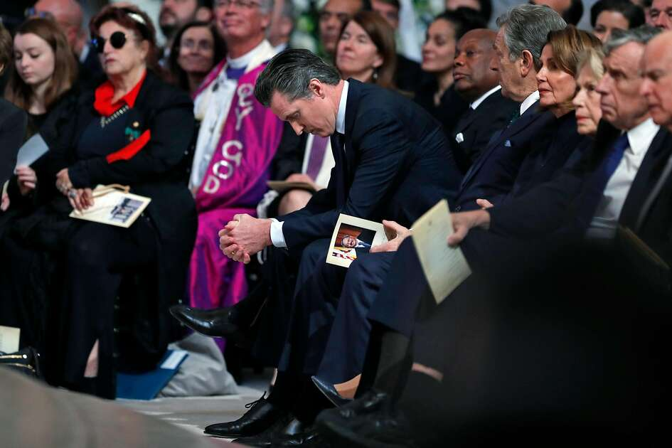 California Lieutenant Governor Gavin Newsom gets emotional during a service Celebrating the Life of Mayor Edwin M. Lee at San Francisco City Hall in San Francisco, Calif., on Sunday, December 17, 2017.