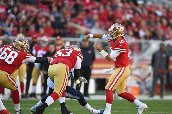 SANTA CLARA, CA - DECEMBER 17:  Jimmy Garoppolo #10 of the San Francisco 49ers throws a pass against the Tennessee Titans during their NFL football game at Levi's Stadium on December 17, 2017 in Santa Clara, California.  (Photo by Thearon W. Henderson/Getty Images)