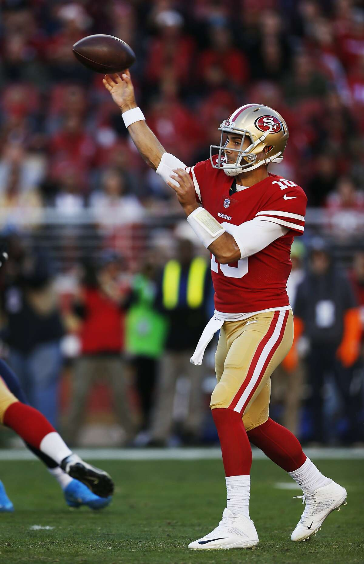 San Francisco 49ers quarterback Jimmy Garoppolo throws against the Tennessee Titans during the first half of an NFL football game Sunday, Dec. 17, 2017, in Santa Clara, Calif. (AP Photo/D. Ross Cameron)