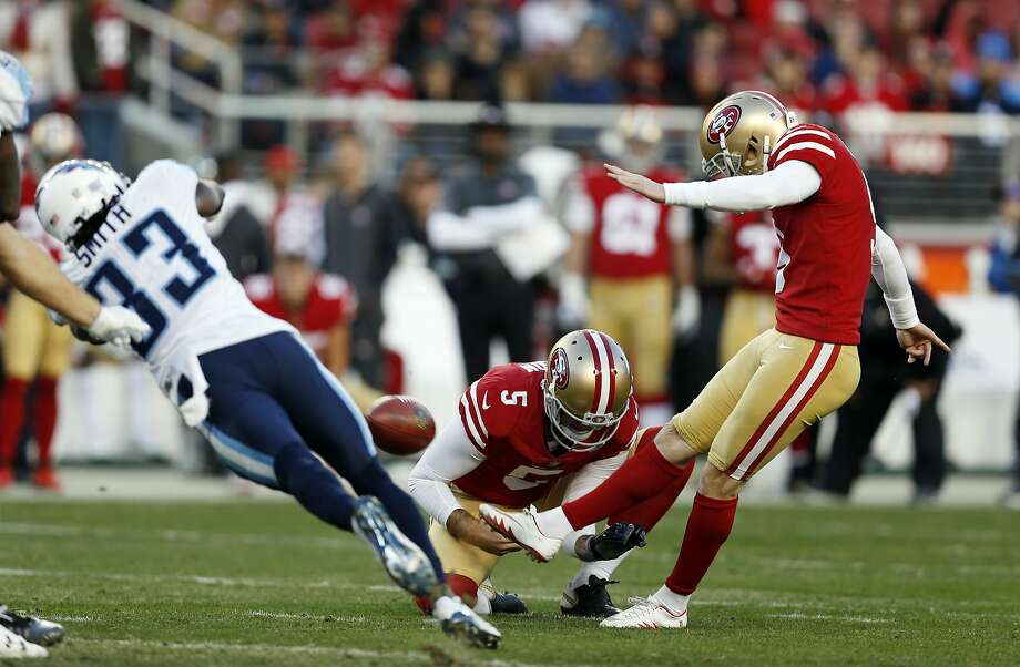 San Francisco 49ers kicker Robbie Gould, right, kicks the game-winning field goal against the Tennessee Titans during the fourth quarter of an NFL football game, Sunday, Dec. 17, 2017, in Santa Clara, Calif. (AP Photo/D. Ross Cameron) Photo: D. Ross Cameron, Associated Press