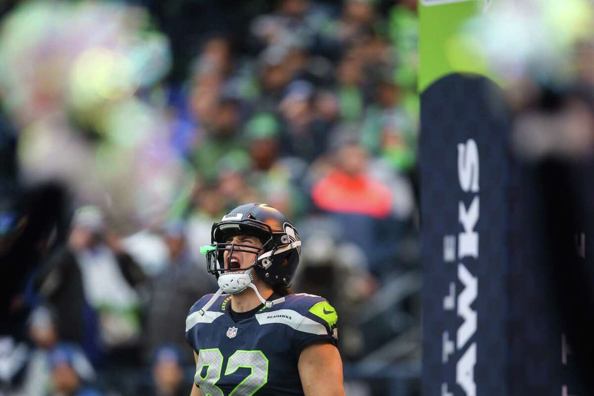Seahawks tight end Luke Willson yells as he's introduced before playing the Los Angeles Rams at CenturyLink Field on Sunday, Dec. 17, 2017.
