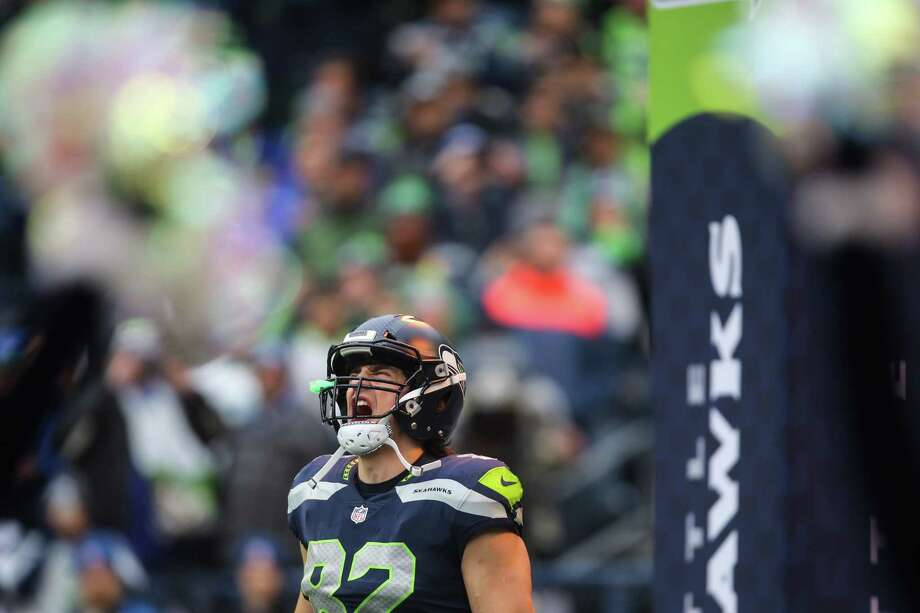 Seahawks tight end Luke Willson yells as he's introduced before playing the Los Angeles Rams at CenturyLink Field on Sunday, Dec. 17, 2017. Photo: GRANT HINDSLEY, SEATTLEPI.COM / SEATTLEPI.COM
