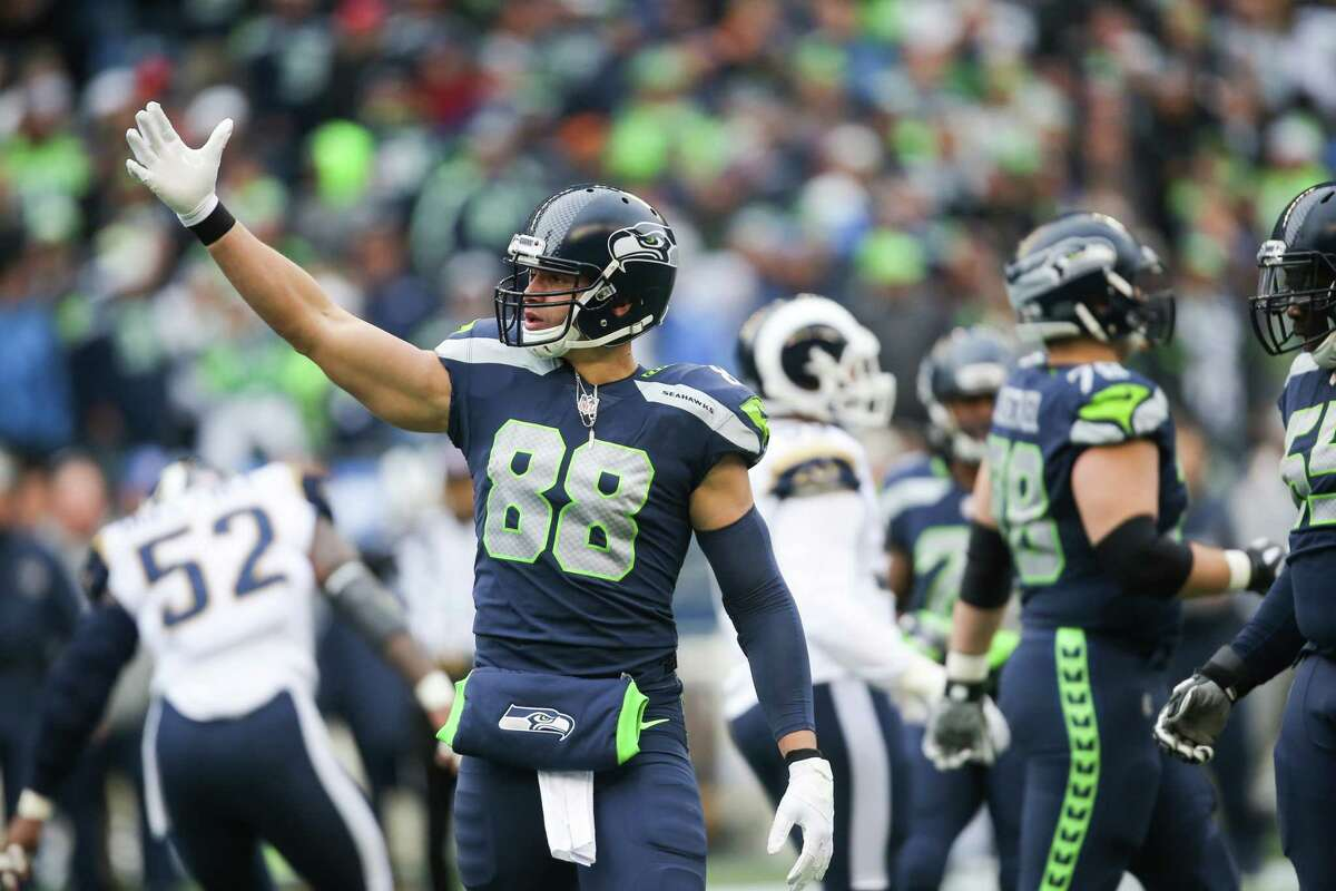Seahawks tight end Jimmy Graham calls for a teammate to move up the field as they try and quickly run the next play before being challenged, which they were, during the first half of a football game against the Los Angeles Rams at CenturyLink Field on Sunday, Dec. 17, 2017.