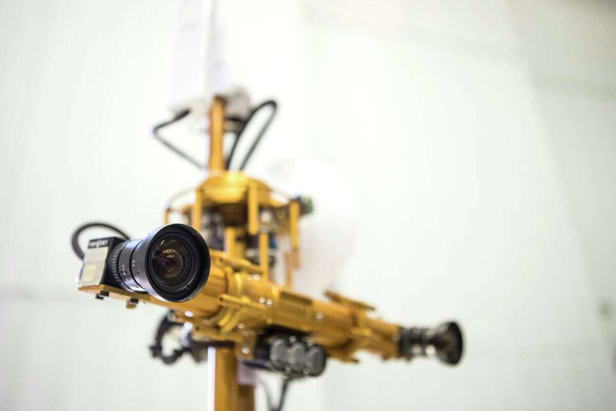 The binocular stereo vision and LED lights are shown on the Resource Prospector 2015 (RP15) Rover Prototype at the Johnson Space Center on Thursday, Nov. 30, 2017, in Houston. The rover is designed to drill into the moon's crust in search of water.