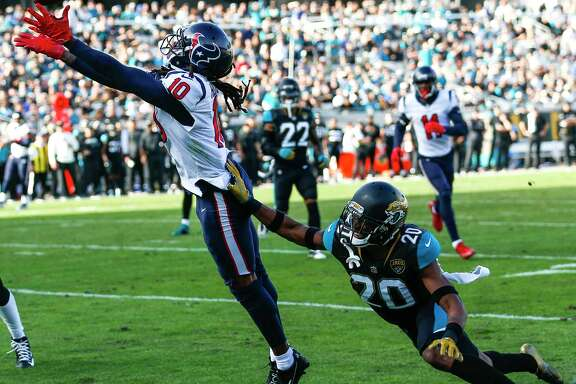 Wide receiver DeAndre Hopkins (10) had a 25-yard touchdown reception Sunday - the Texans' only score of the game. He broke the franchise single-season record, set by himself in 2015, with his 12th TD catch of the season.