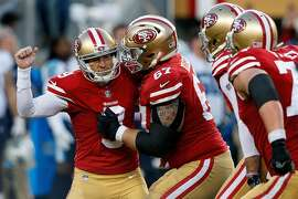 SANTA CLARA, CA - DECEMBER 17: Kicker Robbie Gould #9 of the San Francisco 49ers celebrates after kicking the game winning field goal against the Tennessee Titans during the fourth quarter at Levi's Stadium on December 17, 2017 in Santa Clara, California. The San Francisco 49ers defeated the Tennessee Titans 25-23. (Photo by Jason O. Watson/Getty Images)