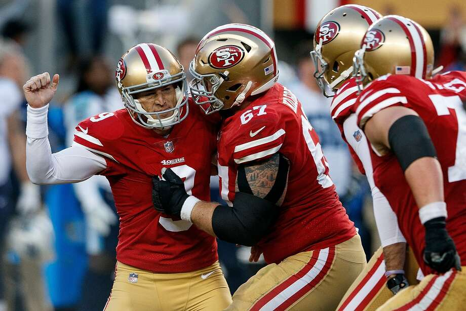 SANTA CLARA, CA - DECEMBER 17: Kicker Robbie Gould #9 of the San Francisco 49ers celebrates after kicking the game winning field goal against the Tennessee Titans during the fourth quarter at Levi's Stadium on December 17, 2017 in Santa Clara, California. The San Francisco 49ers defeated the Tennessee Titans 25-23. (Photo by Jason O. Watson/Getty Images) Photo: Jason O. Watson, Getty Images