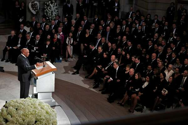Former San Francisco Mayor Willie Brown talks about hiring the late San Francisco Mayor Edwin Lee during a memorial service for Lee at city hall in San Francisco, Calif., on Sunday, December 17, 2017.