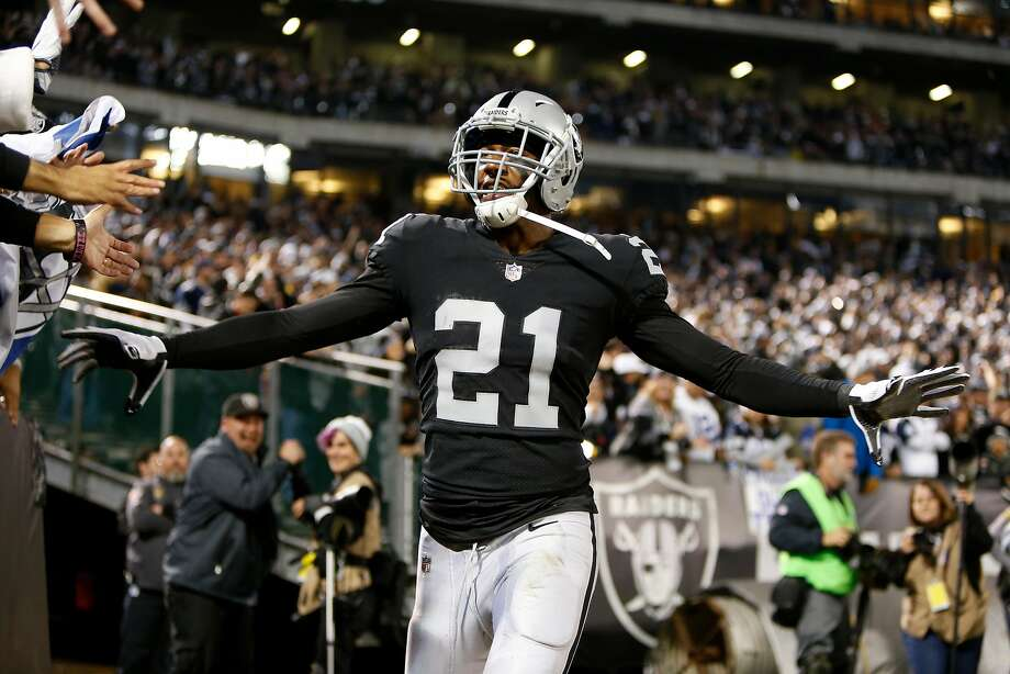 OAKLAND, CA - DECEMBER 17:  Sean Smith #21 of the Oakland Raiders celebrates after intercepting a pass by Dak Prescott #4 of the Dallas Cowboys during their NFL game at Oakland-Alameda County Coliseum on December 17, 2017 in Oakland, California.  (Photo by Lachlan Cunningham/Getty Images) Photo: Lachlan Cunningham, Getty Images