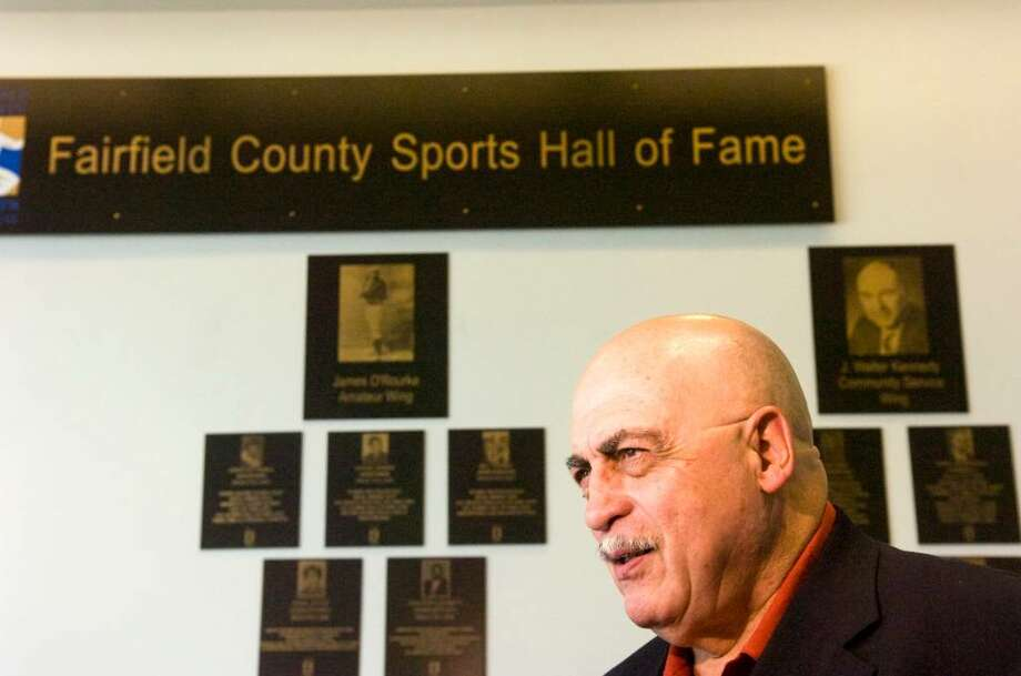 Fairfield County Sports Hall of Fame for 2010 inductee Vito Montelli during the ceremony at the UCONN Stamford building June 29, 2010. Montelli's plaque will hang in the J. Walter Kennedy Community Service Wing. Fellow inductees include Gary Cobb whose plaque will hang in the Jackie Robinson Professional Wing and Amanda Pape who will have a plaque will hang in the James O'Rourke Amateur Wing. Photo: Keelin Daly, ST / Stamford Advocate