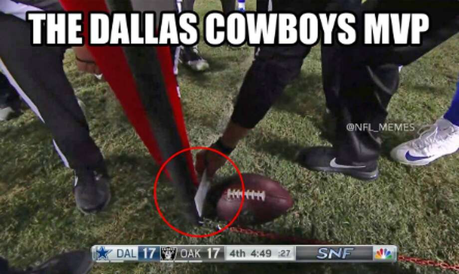 Social media reacts to a referee's index-card test to determine a first down in the Dallas Cowboys-Oakland Raiders' game Sunday at the Coliseum. Source: Twitter (NFL Memes) Photo: Twitter (NFL Memes)