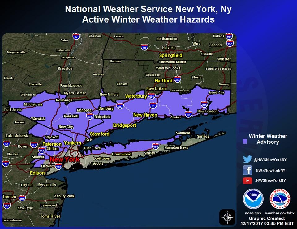 Slippery conditions possible this AM; winter advisory posted