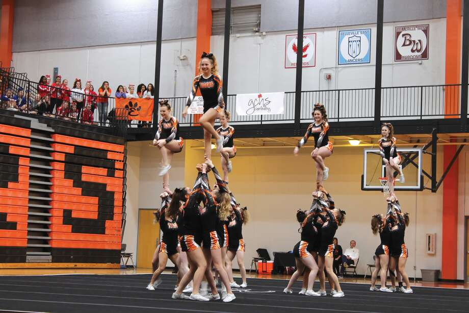 The Edwardsville High School Varsity and Junior Varsity Cheerleading hosted the ICCA Cheer Invitational Sunday at Edwardsville High School. While EHS performed an exhibition at the event, it did compete for ICCA points. Photo: Bill Tucker • Btucker@edwpub.net