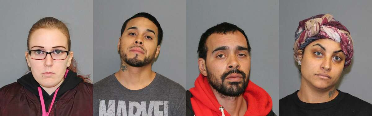 Police arrested five Bridgeport residents accused of shoplifting from a Shelton Walmart and threatening employees with a knife on Sunday, Dec. 17, 2017. Left to right: Trisha Donaldson, Juan Torres, Luis Torres and Monica Santos. Not pictured, Vanessa Torres.