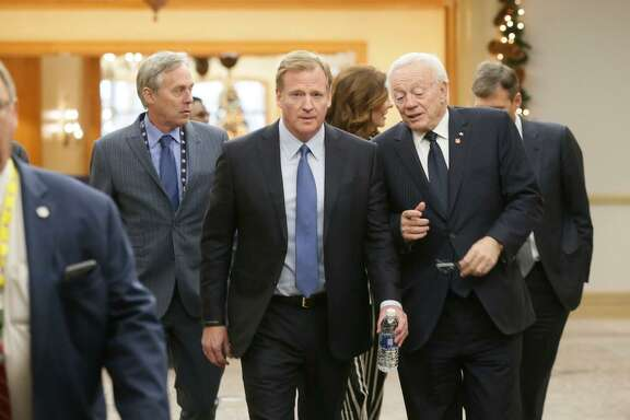 NFL Commissioner Roger Goodell, left, chats with Dallas Cowboys owner Jerry Jones during the NFL owners winter meeting in Irving, Texas, Wednesday, Dec. 13, 2017.