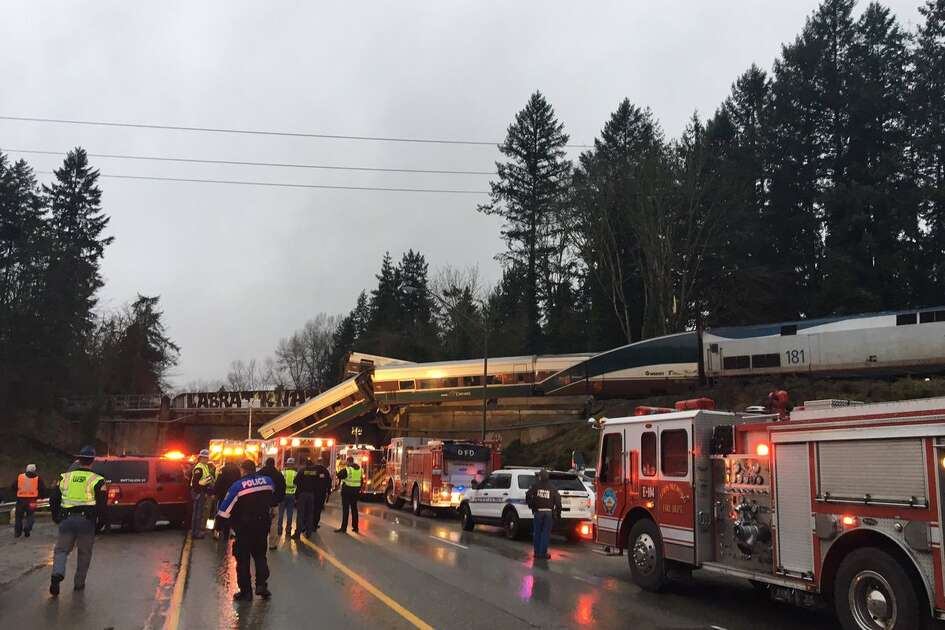An Amtrak train derailed on Dec. 18, 2017 near Olympia, Wash.