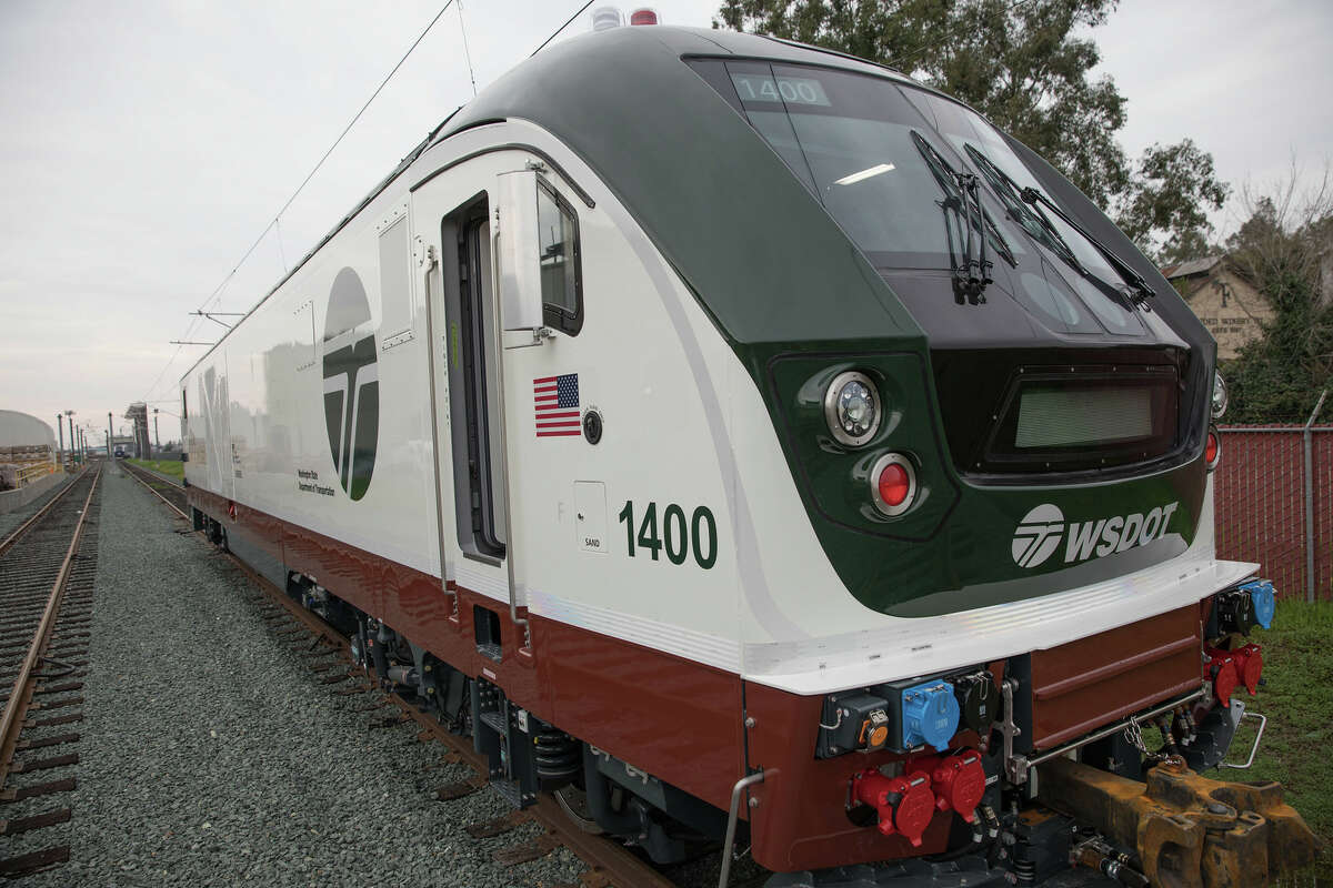 The new Siemens Charger locomotive, one of eight that went into service in November 2017 on the Amtrak Cascades line.