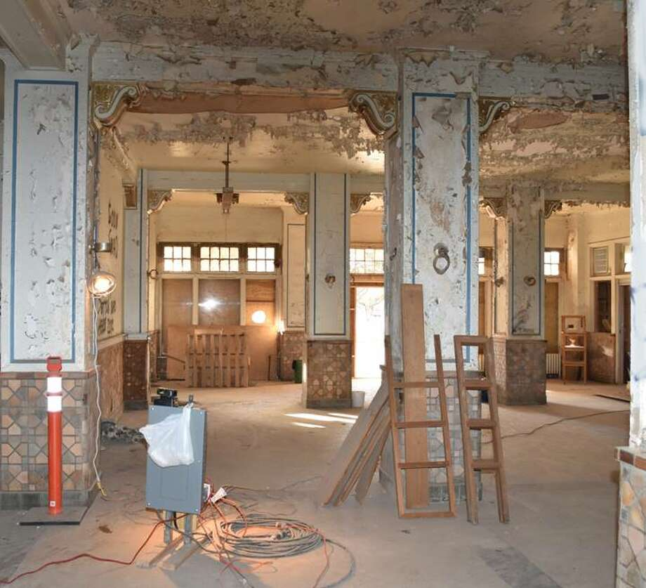 View looking from registration desk to the original entrance of the Hilton Hotel. The renovation of the hotel is an important component of the proposed downtown TIF district. Photo: Gordon Ziegler