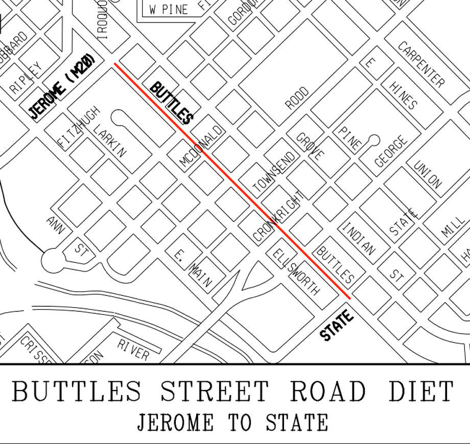 The proposed road diet would convert the three lanes on Buttles Street to two lanes. (Courtesy of the City of Midland)
