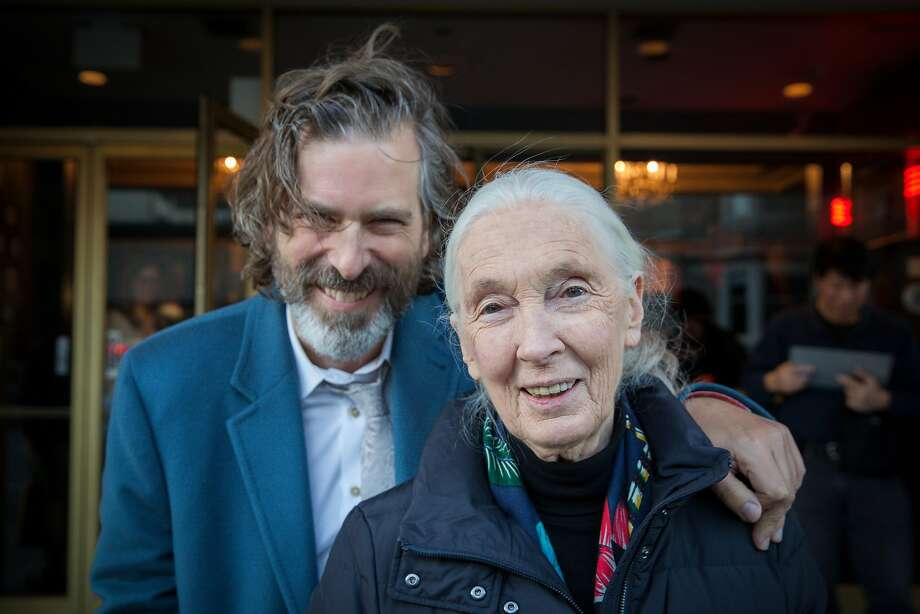 Anthropologist Jane Goodall and director Brett Morgen before a special screening of Jane at the Vogue Theatre in San Francisco, California, USA 17 Dec 2017. Photo: Peter DaSilva, Special To The Chronicle