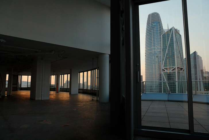 The penthouse at the Lumina Tower on Folsom Street, waiting to be sold and custom-built for a new buyer, where buildings like Salesforce Tower and 181 Fremont near the new Transbay terminal are changing the skyline in San Francisco, Calif., on Wednesday, December 13, 2017.