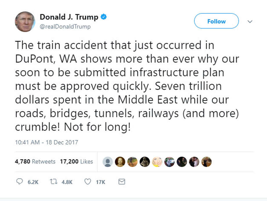 Hours after a deadly Amtrak crash south of Seattle, President Donald Trump faulted Congress for failing to pass a large infrastructure bill. The tweet is pictured above. Photo: Twitter