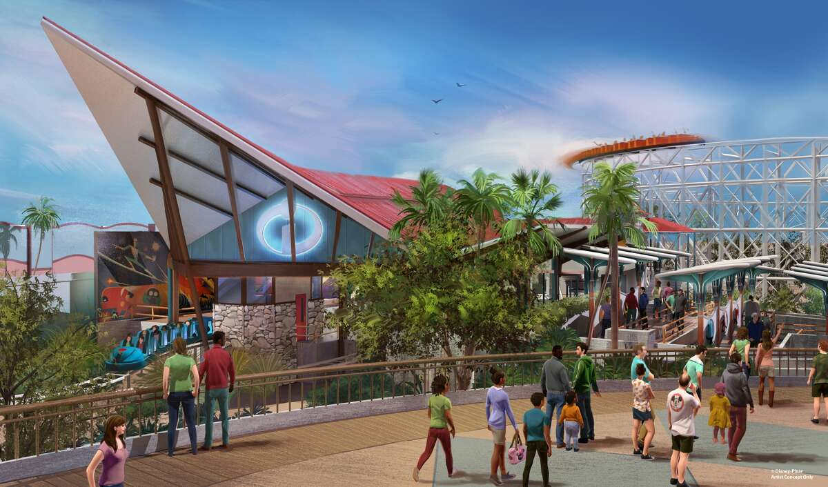"""Summer 2018 will bring a transformed land when Pixar Pier opens for guests to experience at Disney California Adventure park, including the new Incredicoaster, inspired by Disney?•Pixar?'s ?""""The Incredibles.?"""" Pixar Pier also introduces four new neighborhoods representing beloved Pixar stories. This artist concept captures a scene from one of the neighborhoods inspired by ?""""The Incredibles.?"""" Here, guests will find the new Incredicoaster featuring a mid-century-modern-style loading area, new character moments and a new look for the ride vehicles. ( Disney?•Pixar)"""