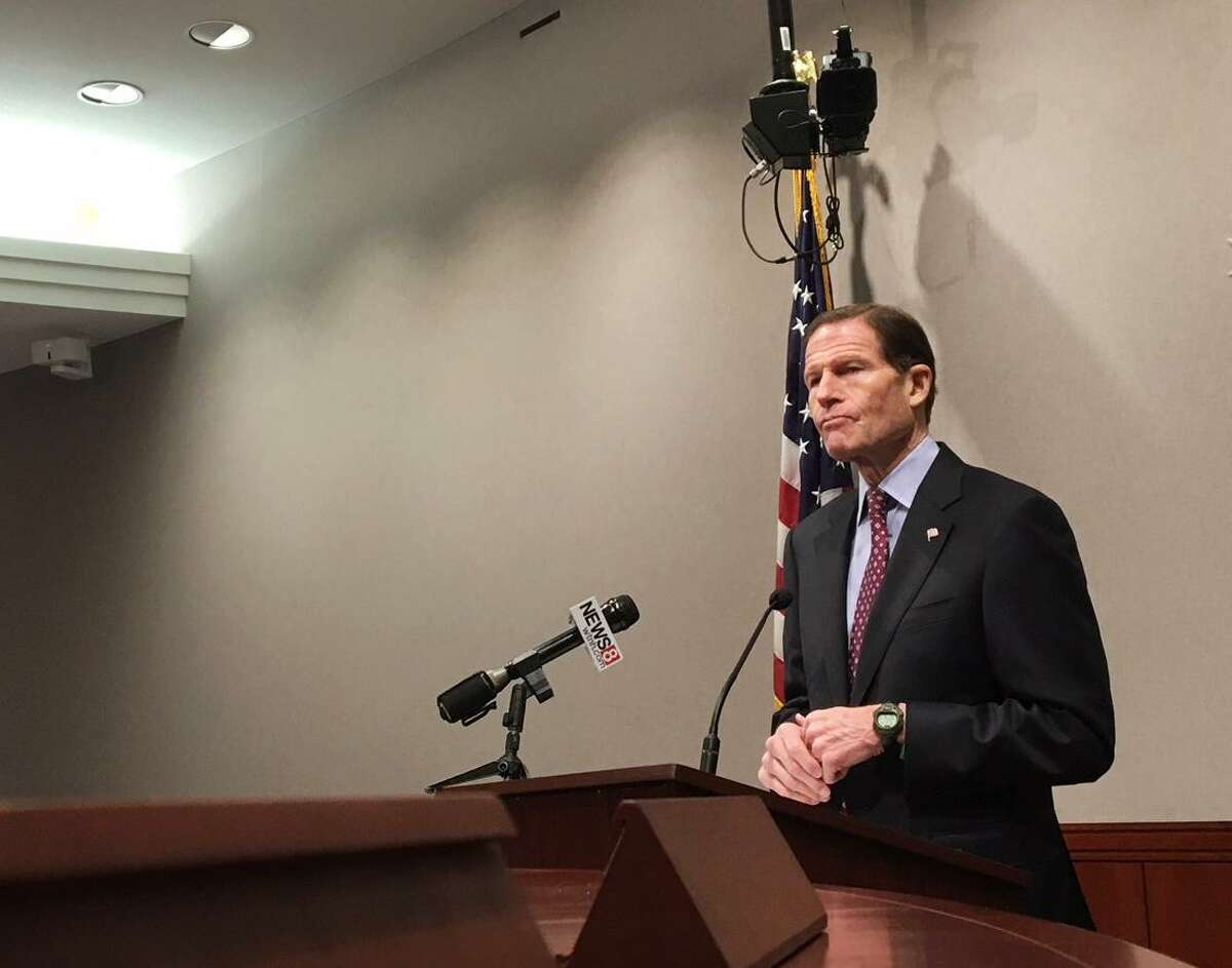 U.S. Sen. Richard Blumenthal speaking to reporters in the State Capitol in Hartford, Conn. on Monday, Dec. 18, 2017 said that as plans are made to continue funding government operations that are set to end December 31, he will push for hurricane relief payments to Puerto Rico, protections for foreign-born
