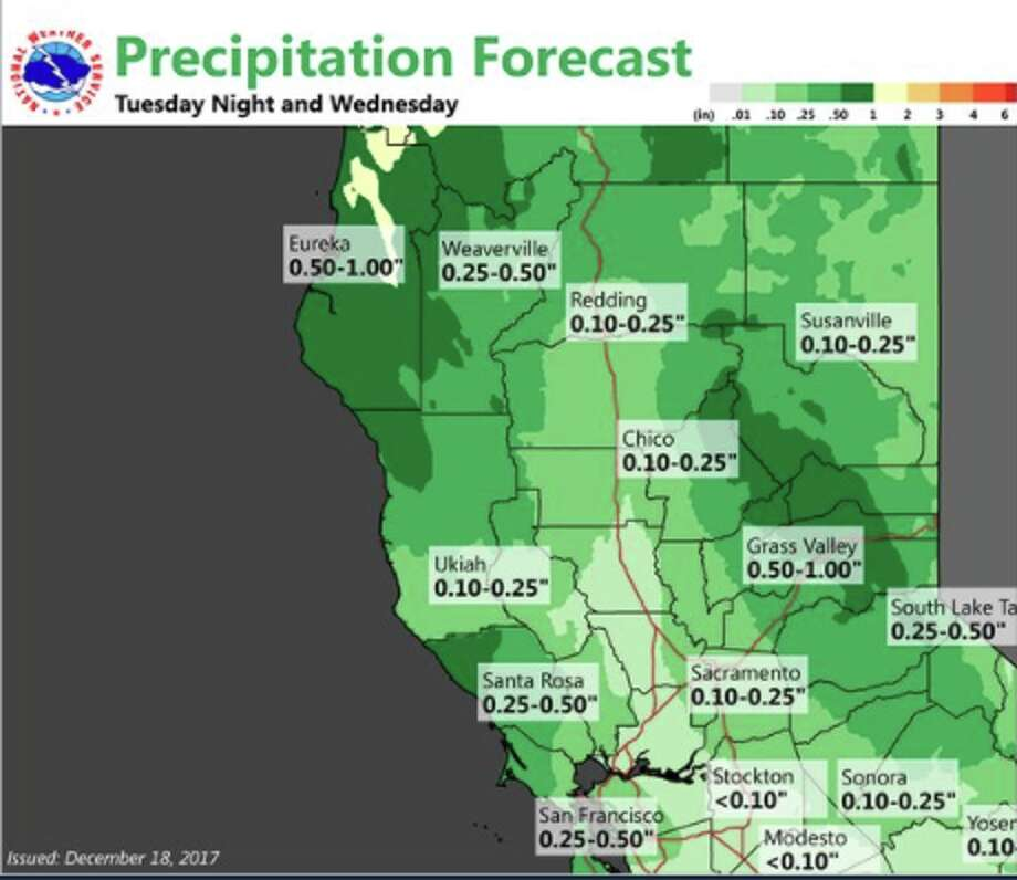 The National Weather Service's precipitation forecast for Tuesday and Wednesday at locations around California. Photo: National Weather Service