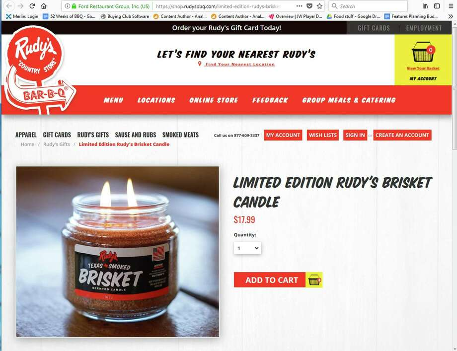 Rudy's is offering a limited edition brisket scented candle, available online at rudysbbq.com. It sells for $17.99 and production is being limited to 1,000 candles. Photo: Screen Grab From Rudysbbq.com