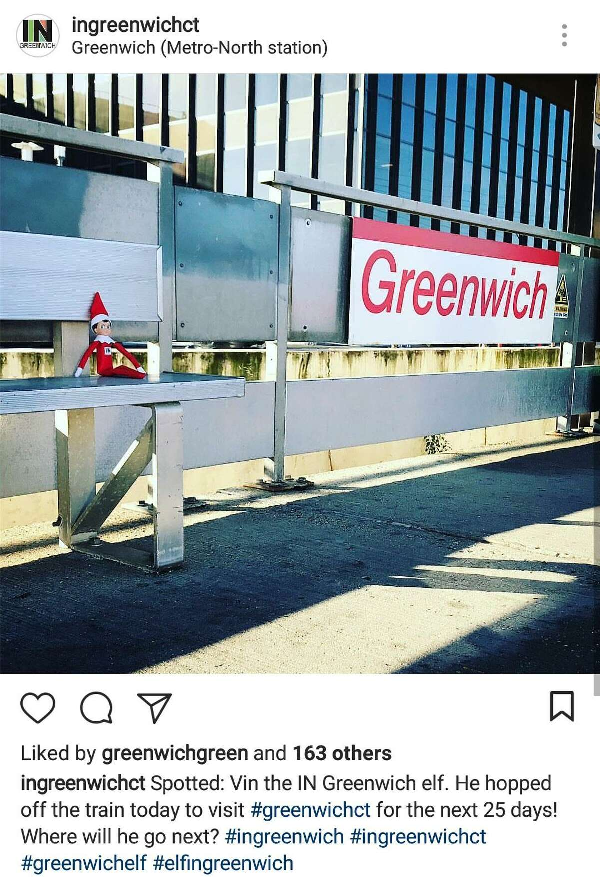 Vin the IN Greenwich elf arrived at the Greenwich train station on Dec. 1, 2017. He has been taking photos with various people, in various places, and with different organizations and nonprofits during the holiday season.