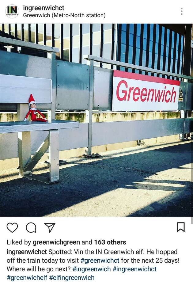 Vin the IN Greenwich elf arrived at the Greenwich train station on Dec. 1, 2017. He has been taking photos with various people, in various places, and with different organizations and nonprofits during the holiday season. Photo: Contributed / @ingreenwichct