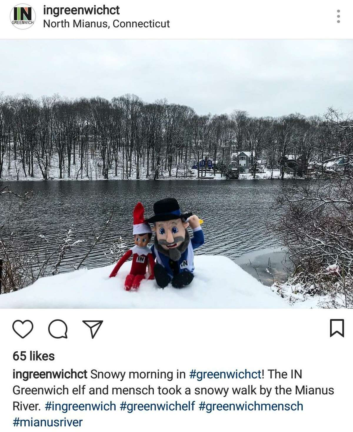 Vin the IN Greenwich elf and Bin the IN Greenwich mensch had a photo shoot along the Mianus River by North Mianus on Dec. 14, 2017.